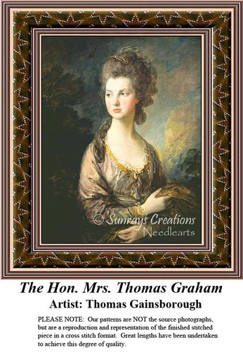 The Hon. Mrs. Thomas Graham, Fine Art Counted Cross Stitch Pattern, Women Counted Cross Stitch Pattern