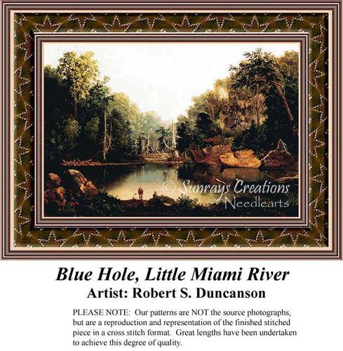 Blue Hole, Little Miami River, Fine Art Counted Cross Stitch Pattern