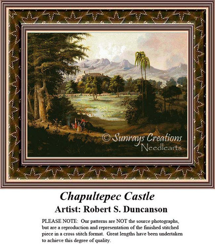 Chapultepec Castle, Fine Art Counted Cross Stitch Pattern