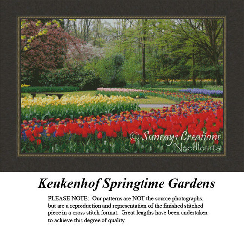 Keukenhof Springtime Gardens, Landscape Counted Cross Stitch Pattern, Spring Counted Cross Stitch Pattern