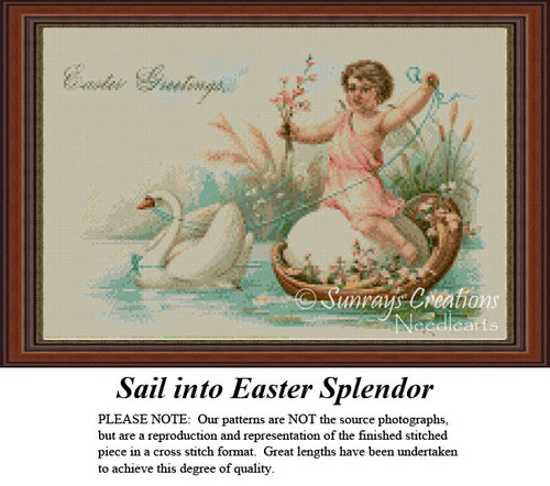 Sail into Easter Splendor, Vintage Counted Cross Stitch Pattern