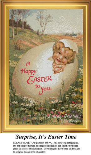 Surprise, It's Easter Time, Cross Stitch Pattern
