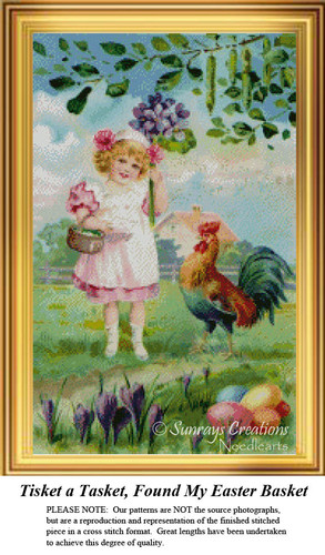 Tisket a Tasket, Found My Easter Basket Cross Stitch Pattern
