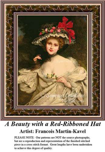 A Beauty with a Red-Ribboned Hat, Fine Art Cross Stitch Pattern, Women Counted Cross Stitch Pattern