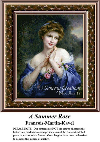 A Summer Rose, Fine Art Counted Cross Stitch Pattern, Summer Counted Cross Stitch Pattern