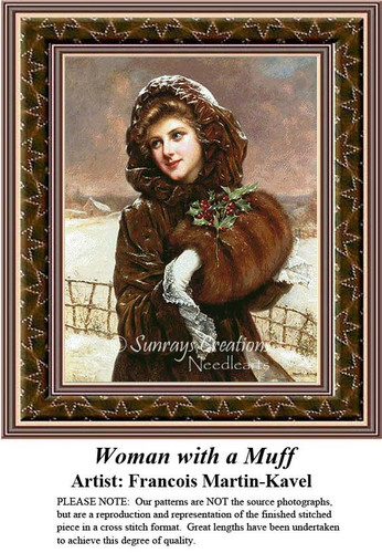 Woman with a Muff, Fine Art Counted Cross Stitch Pattern, Women Counted Cross Stitch Pattern