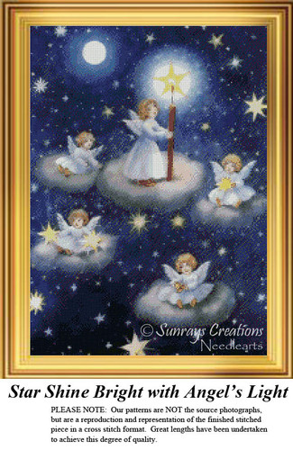 Stars Shine Bright with Angel's Light, Vintage Counted Cross Stitch Pattern
