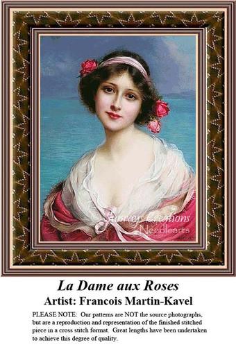 La Dame aux Roses, Fine Art Counted Cross Stitch Pattern, Women Counted Cross Stitch Pattern