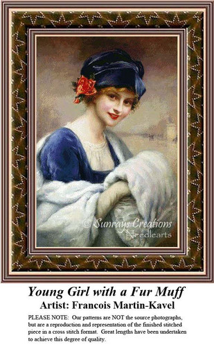 Young Girl with a Fur Muff, Fine Art Counted Cross Stitch Pattern