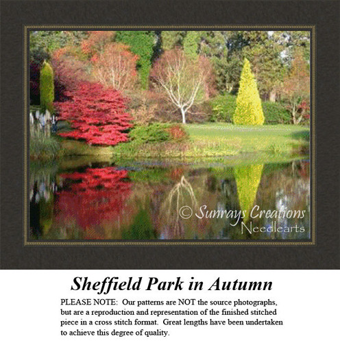 Sheffield Park in Autumn, Landscape Counted Cross Stitch Pattern, Fall Counted Cross Stitch Pattern