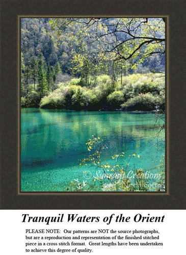 Tranquil Waters of the Orient, Landscape Counted Cross Stitch Pattern, Waterscapes Cross Stitch Patterns