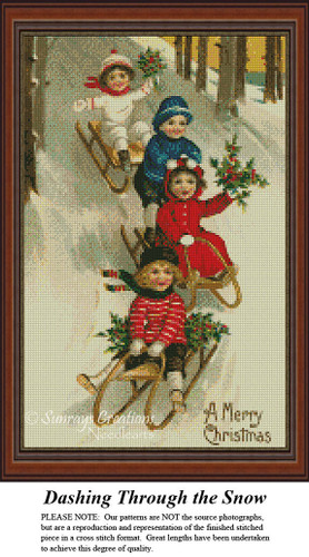 Dashing Through the Snow, Christmas Cross Stitch Pattern