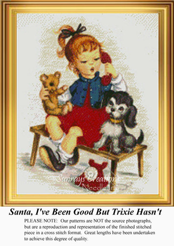 Santa, I've Been Good but Trixie Hasn't, Vintage Counted Cross Stitch Patterns