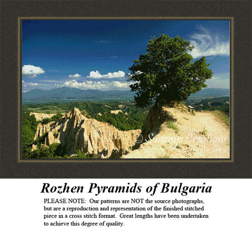 Rozhen Pyramids of Bulgaria, Landscapes Counted Cross Stitch Pattern