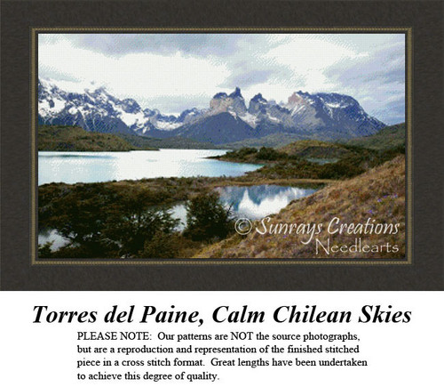 Torres del Paine, Calm Chilean Skies, Alluring Landscape Counted Cross Stitch Pattern