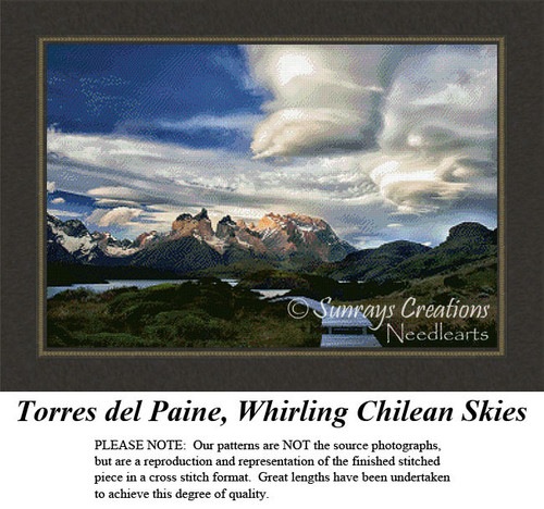Torres del Paine, Whirling Chilean Skies, Alluring Landscape Cross Stitch Pattern
