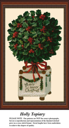 Holly Topiary, Christmas Counted Cross Stitch Pattern