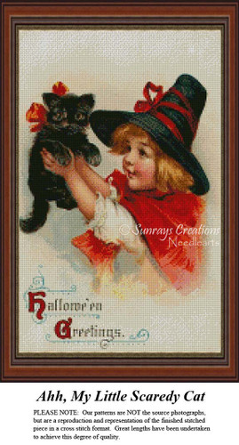 Ahhhh, My Little Scaredy Cat, Vintage Counted Cross Stitch Pattern