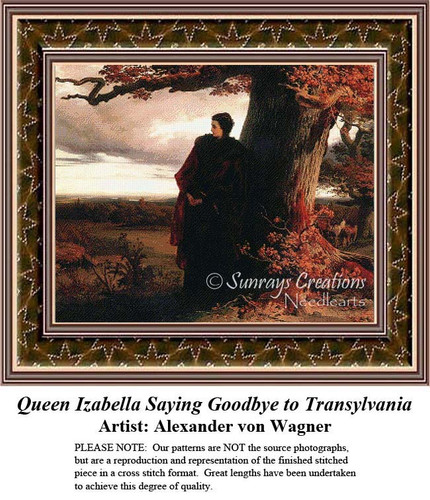 Queen Izabella Saying Goodbye to Transylvania, Nobility Counted Cross Stitch Pattern, Fine Art Counted Cross Stitch Pattern, Women Cross Stitch Patterns