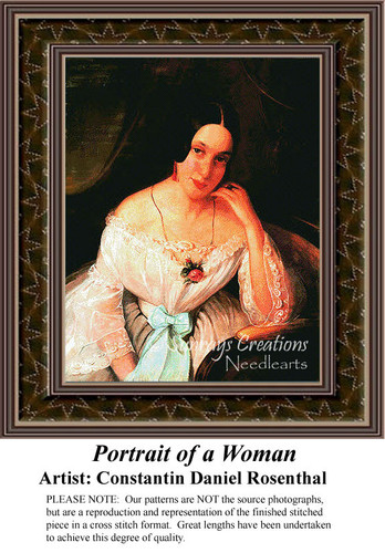 Portrait of a Woman, Fine Art Counted Cross Stitch Pattern, Women Counted Cross Stitch Pattern