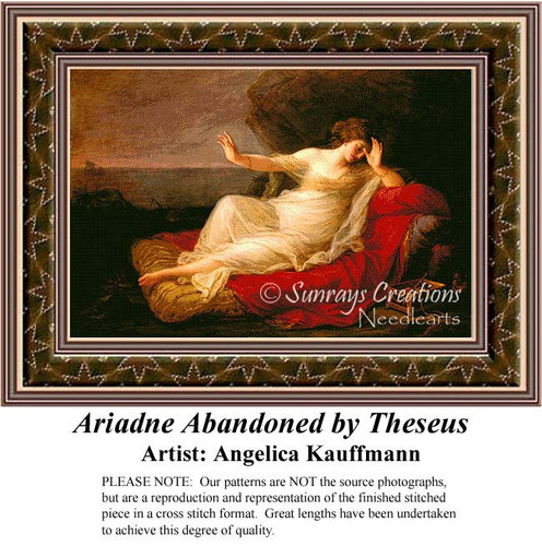 Ariadne Abandoned by Theseus, Fine Art Counted Cross Stitch Pattern, Women Counted Cross Stitch Patterns, Romance Counted Cross Stitch Patterns
