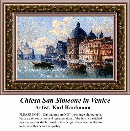 Chiesa San Simeone in Venice, Urban Counted Cross Stitch Pattern, Waterscapes Counted Cross Stitch Pattern, Fine Art Counted Cross Stitch Pattern