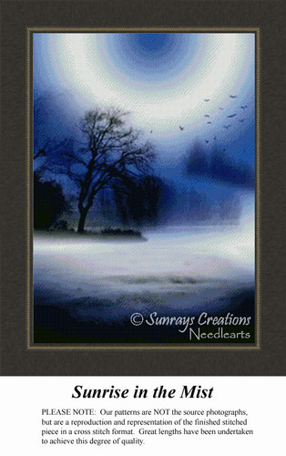 Sunrise in the Mist, Landscape Counted Cross Stitch Pattern