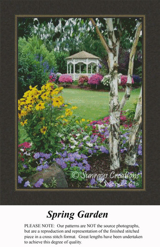 Spring Garden, Landscape Cross Stitch Pattern,  Spring Cross Stitch Pattern