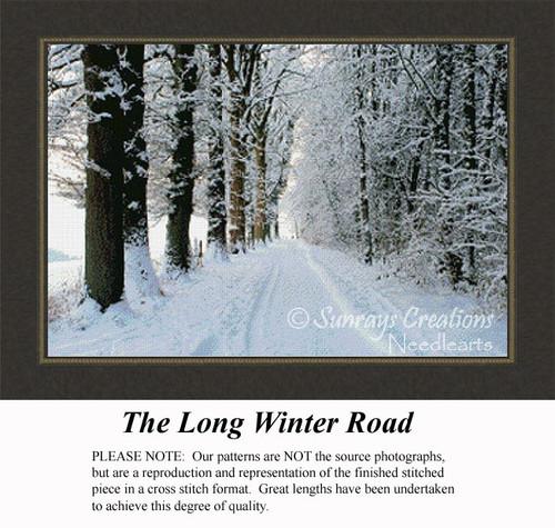 The Long Winter Road, Landscape Cross Stitch Pattern, Winter Counted Cross Stitch Pattern