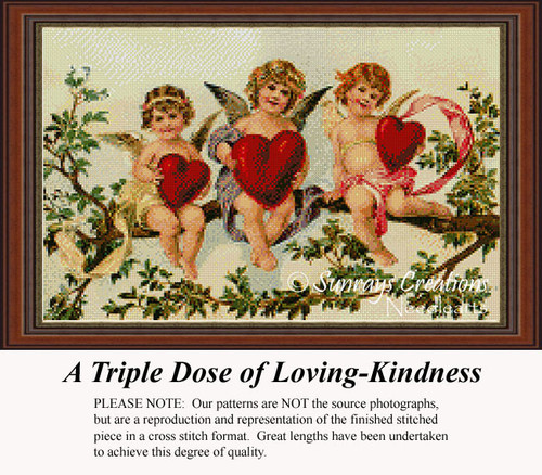 A Triple Dose of Loving-Kindness, Vintage Counted Cross Stitch Pattern