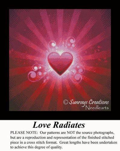 Love Radiates, Valentines Cross Stitch Pattern