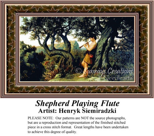 Shepherd Playing Flute, Fine Art Counted Cross Stitch Pattern