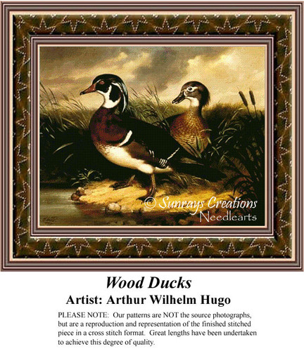 Wood Ducks, Fine Art Counted Cross Stitch Pattern