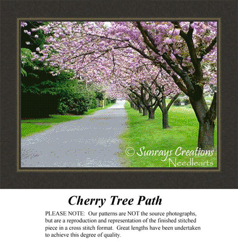 Cherry Tree Path, Landscape Cross Stitch Pattern