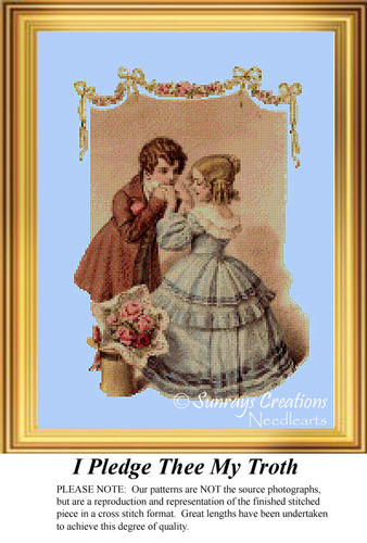 I Pledge Thee My Troth, Vintage Cross Stitch Pattern