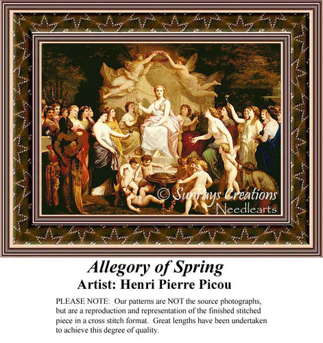 Allegory of Spring, Fine Art Counted Cross Stitch Pattern, Spring Counted Cross Stitch Pattern