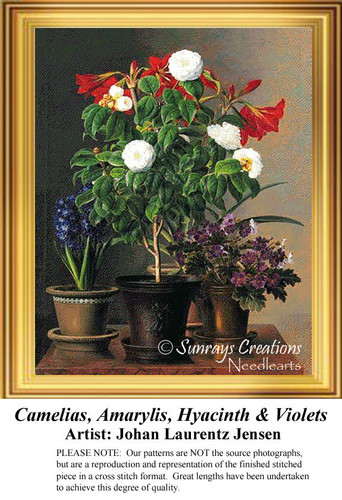 Camelias, Amaryllis, Hyacinth & Violets, Flowers Cross Stitch Pattern