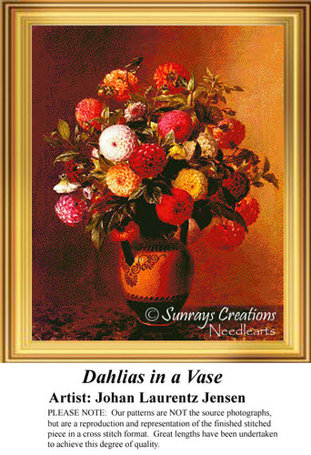 Dahlias in a Vase, Counted Cross Stitch Pattern