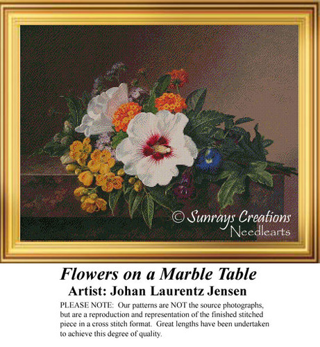 Flowers on a Marble Table, Counted Cross Stitch Pattern