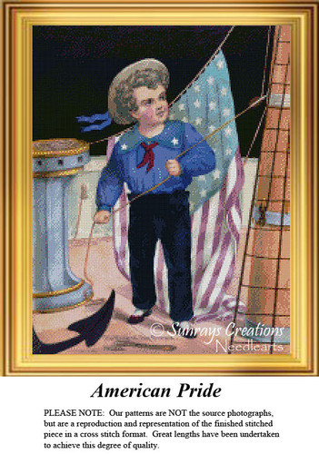American Pride, Vintage Cross Stitch Pattern