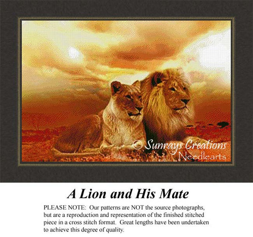 A Lion and HIs Mate, Animal Cross Stitch Pattern