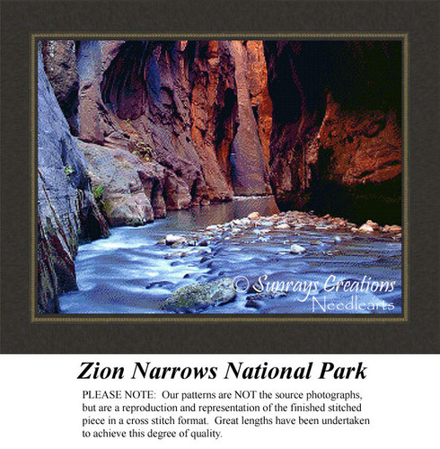 Zion Narrows National Park, Landscape Cross Stitch Pattern