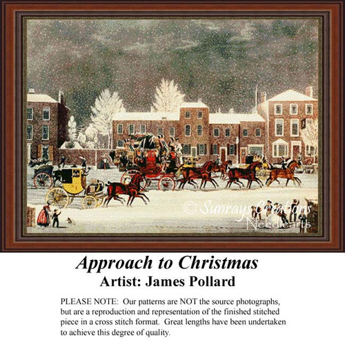 Approach to Christmas, Vintage Cross Stitch Pattern