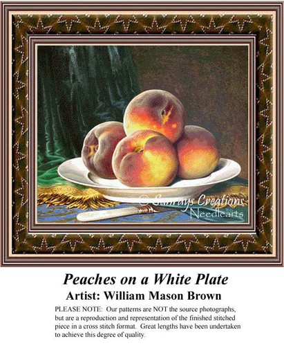 Peaches on a White Plate, Still Lifes Counted Cross Stitch Pattern, Fine Art Cross Stitch Pattern