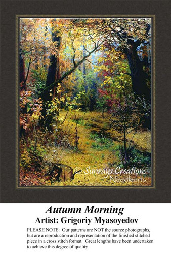 Autumn Morning, Fine Arts Counted Cross Stitch Pattern,  Fall Counted Cross Stitch Pattern