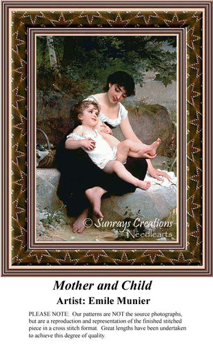 Mother and Child, Fine Art Cross Stitch Pattern, Family Counted Cross Stitch Pattern