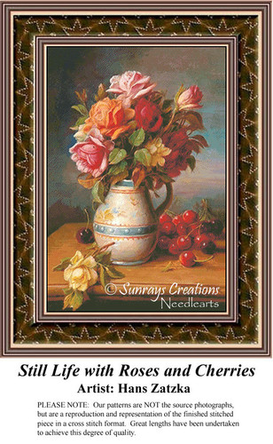 Still Life with Roses and Cherries, Still Lifes Counted Cross Stitch Pattern, Hans Zatzka Cross Stitch