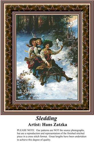 Sledding, Hans Zatzka Counted Cross Stitch Pattern, Winter Counted Cross Stitch Pattern, Children Counted Cross Stitch Pattern