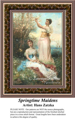 Springtime Maidens, Hans Zatzka Counted Cross Stitch Pattern, Spring Cross Stitch Patterns