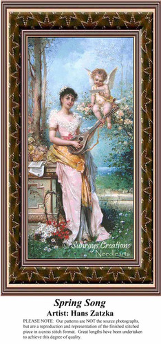 Spring Song, Spring Counted Cross Stitch Pattern, Hans Zatzka Counted Cross Stitch Pattern
